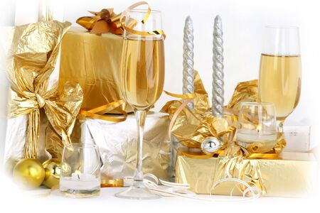 Glasses of champagne , gifts Stock Photo - 2302232