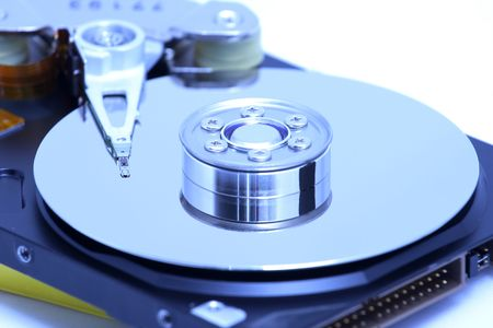databank: Hard disk detail with a blue hue