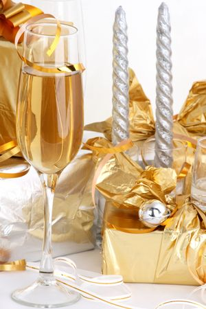 Glasses of champagne , gifts Stock Photo - 2330648