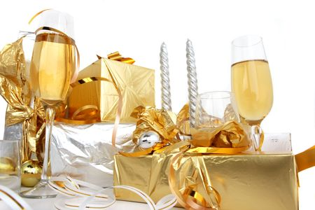 Glasses of champagne , gifts Stock Photo - 2330650