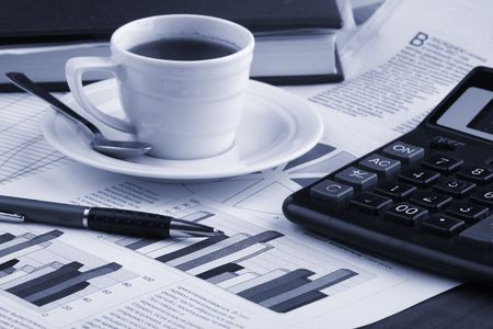 business news: Cup  coffee,  business news Stock Photo