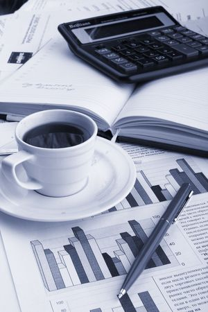 fragrant: Cup of fragrant coffee on a morning paper business news