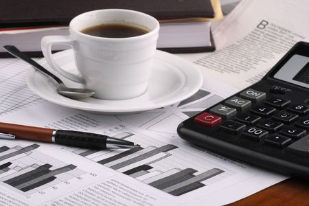 exceeds: Cup  coffee,  business news Stock Photo