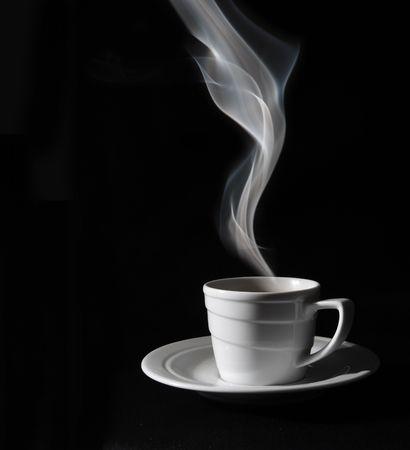 Cup black coffee, steam photo