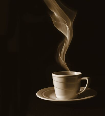 Cup black coffee, steam