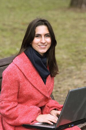 The girl laptop in park Stock Photo - 2709292