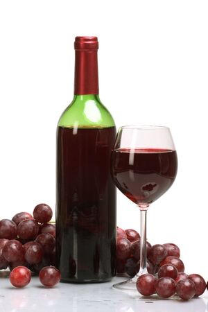 Bottle and glass of  wine  on white background photo