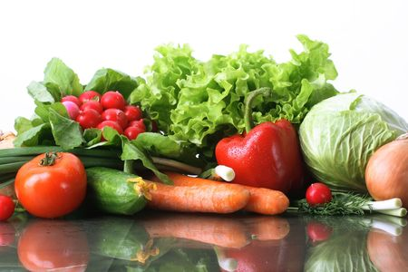 foodstuffs: Fresh Vegetables, Fruits and other foodstuffs. Stock Photo