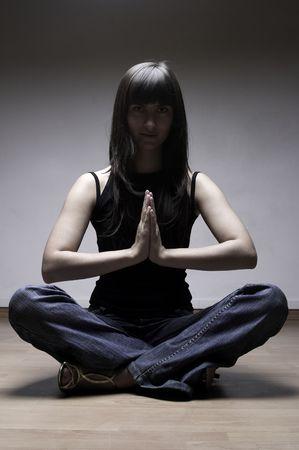 meditates: The girl meditates