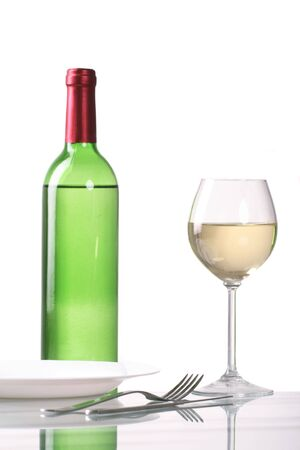 Bottle and glass of  wine  on white background Stock Photo - 3446874
