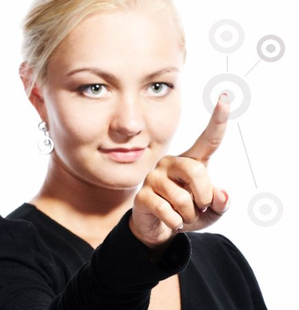 young woman pushing a start button Stock Photo - 3789837