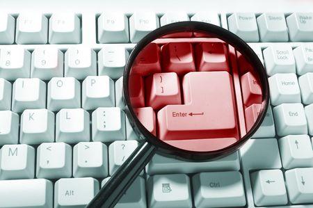 Magnifying glass, button, key Stock Photo - 3828064