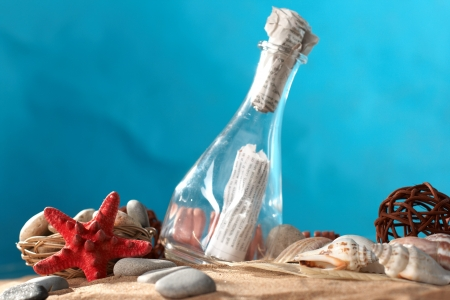 Sea still-life the message in a bottle Stock Photo - 4179380