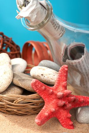 Sea still-life the message in a bottle photo