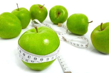 Green apples measured  the meter, sports apples Stock Photo - 4786382