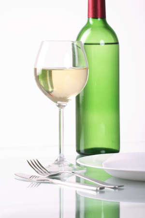 bocal: Bottle and glass of  wine  on white background Stock Photo
