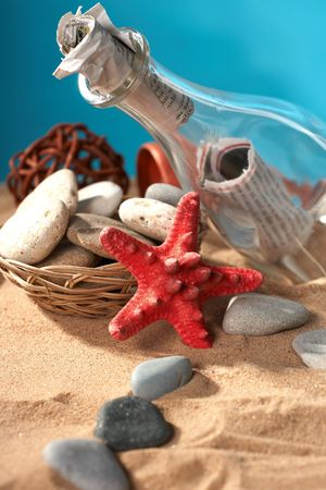 stilllife: Sea still-life the message in a bottle Stock Photo