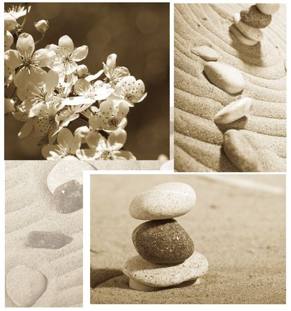 fengshui: Garden of stones, feng-shui, sakura, Stock Photo