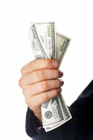 mano con dinero: lado, el dinero de d�lares EE.UU.
