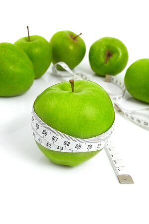 Green apples measured  the meter, sports apples Stock Photo - 5292757