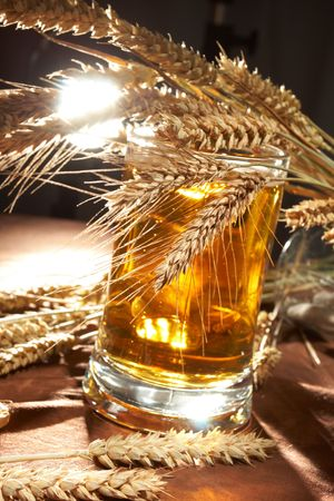 Glass of beer with grain Stock Photo - 5649283