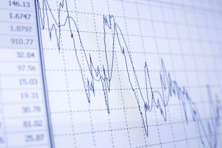 crisis economica: Diagrama de negocio en el informe financiero  Foto de archivo