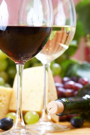 appetizer: Wine and Cheese still life Stock Photo