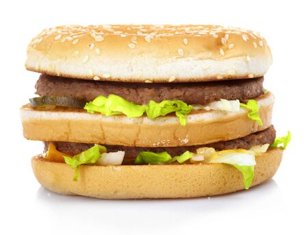 Hamburger with  lettuce isolated on white photo