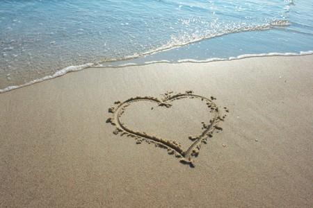 seacoast: Heart drawn on sand, seacoast