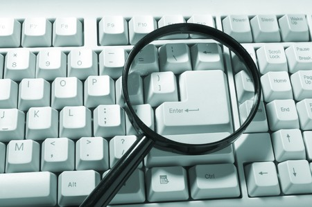 Magnifying glass, button, key Stock Photo - 6932108