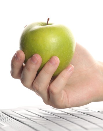 Apple, keyboard, hand photo