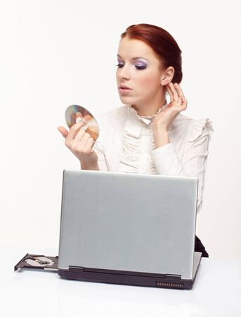 Portrait of business woman with a laptop. Stock Photo - 7063701