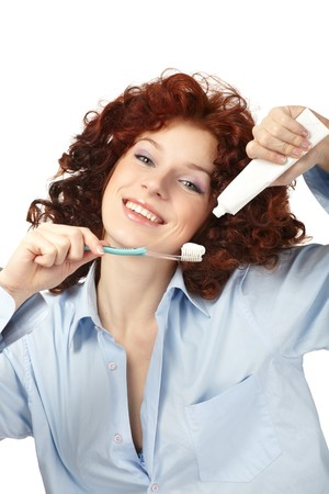 helthcare: Young beauty woman clean teeth Stock Photo