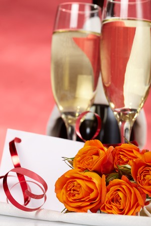 Roses and glasses of champagne Stock Photo - 7063780