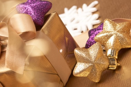 closed ribbon: Christmas present Stock Photo
