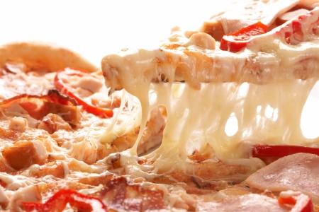 pizza: Pizza met peper en ham  Stockfoto
