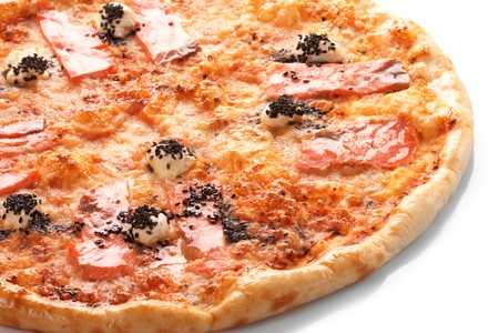Pizza with grilled salmon photo