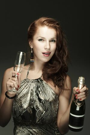 Beautiful woman with сhampagne photo