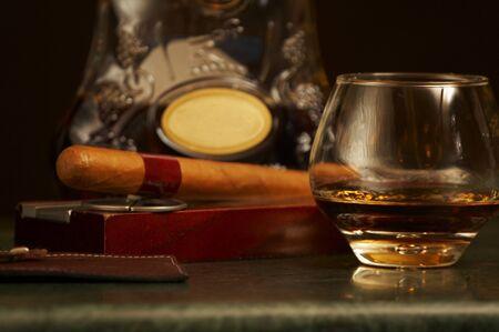 classic cognac bottle, cigar photo