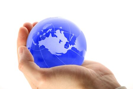world in hand and global internet and business photo