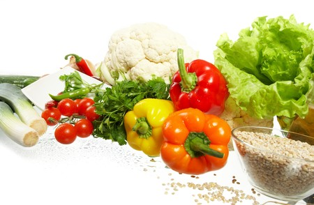 Fresh Vegetables, Fruits and other foodstuffs. Stock Photo