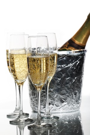 ice bucket: Champagne flutes and ice bucket