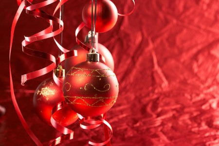 Red Christmas balls Stock Photo - 8221290