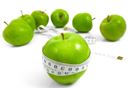 Green apples measured  the meter, sports apples photo