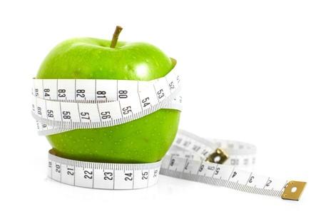Grüne Äpfel gemessen, die Meter, Sport-Äpfel Standard-Bild
