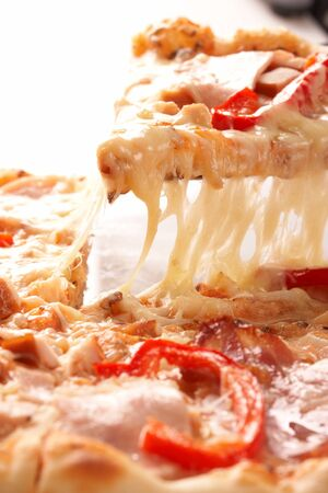 Pizza with pepper and ham photo