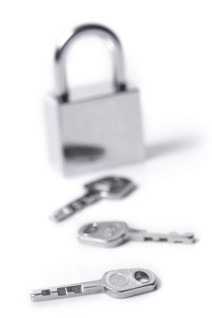 Lock and keys on the white background Stock Photo - 8353716