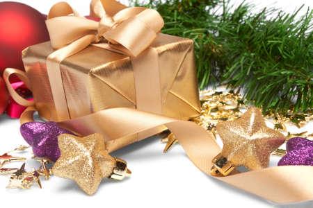 closed ribbon: Christmas present Stock Photo