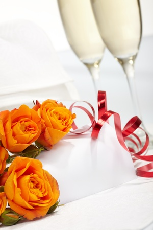 Roses and glasses of champagne Stock Photo - 8514519