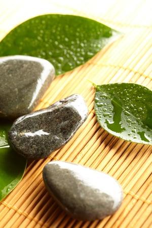 zen stones with leaves  photo